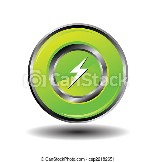 Electricity bolt icon charge button - csp22182651