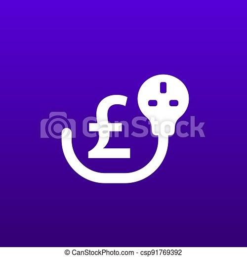 electricity costs icon with uk electric plug - csp91769392