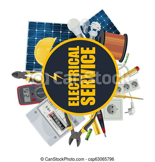 Electricity equipment, electrical service, vector - csp63065796