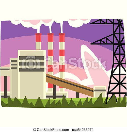 Electricity generation plant, fossil fuel power station horizontal vector illustration - csp54255274