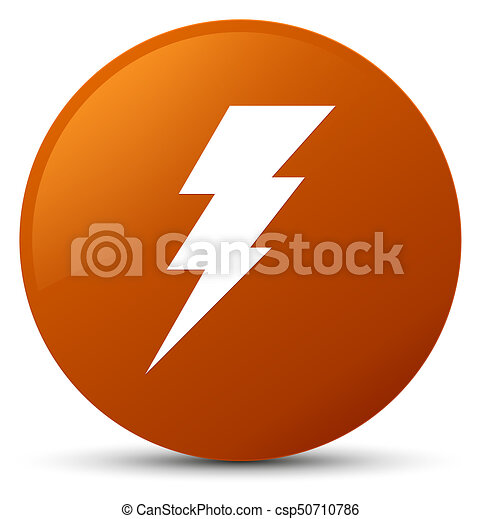 Electricity icon brown round button - csp50710786