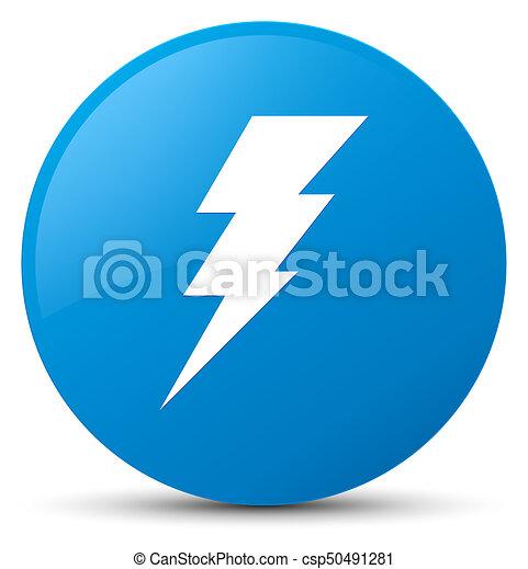 Electricity icon cyan blue round button - csp50491281