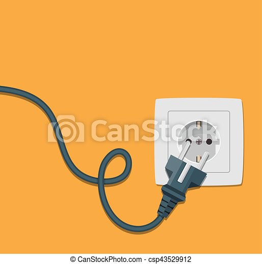 Electricity Icon Flat With Plug And Socket Electricity Plug And