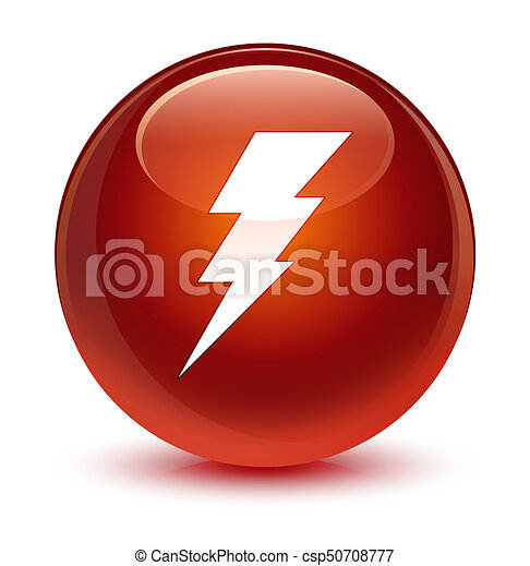 Electricity icon glassy brown round button - csp50708777