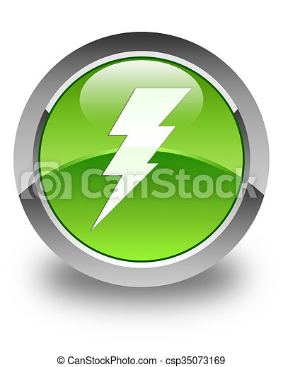 Electricity icon glossy green round button - csp35073169