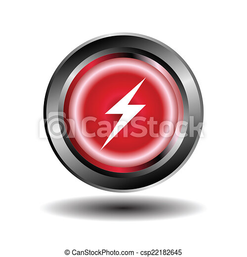 Electricity icon glossy red button - csp22182645