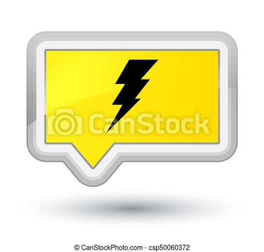 Electricity icon prime yellow banner button - csp50060372