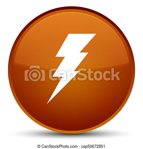 Electricity icon special brown round button - csp50672851