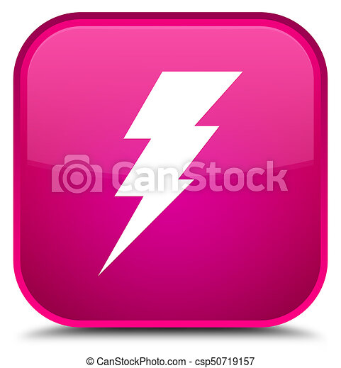 Electricity icon special pink square button - csp50719157