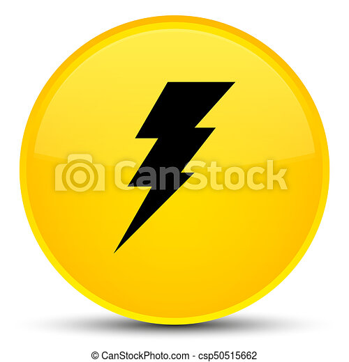 Electricity icon special yellow round button - csp50515662