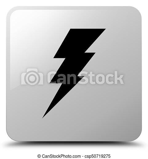 Electricity icon white square button - csp50719275