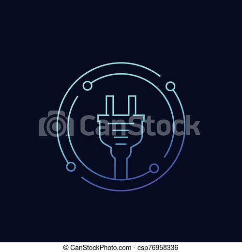 electricity icon with electric plug linear vector - csp76958336