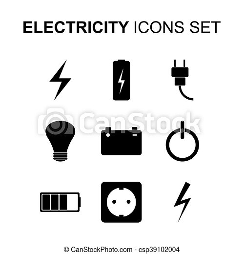 Electricity icons set. Vector - csp39102004