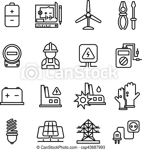 Electricity Industry Electrical Engineering Vector Line Icons