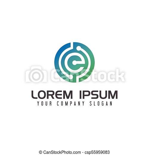 electricity letter e logo technology network design concept template