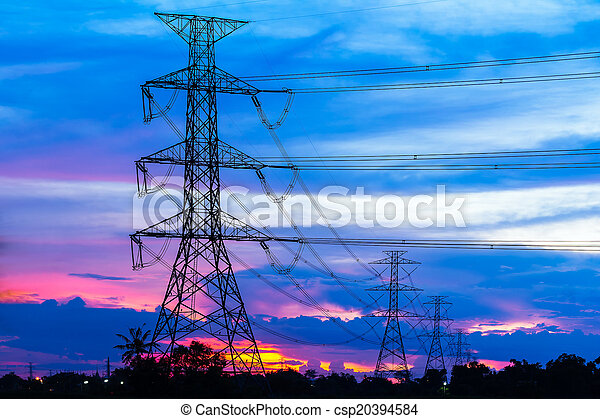 Electricity Pillars against colorful sunset  - csp20394584
