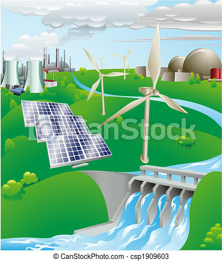 Electricity power generation illustration - csp1909603