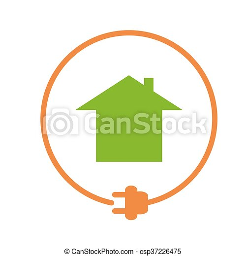 Electricity supply icon. House in the circle with plug,... vectors ...