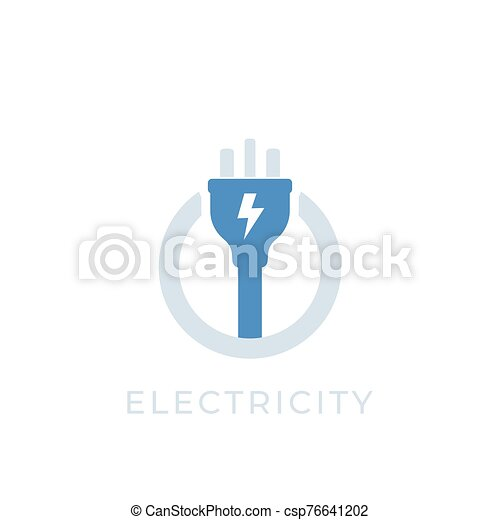 electricity vector icon with electric plug - csp76641202
