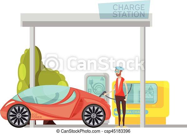 Electro Car Flat Illustration - csp45183396