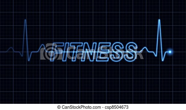 Electrocardiogram with Fitness word - csp8504673