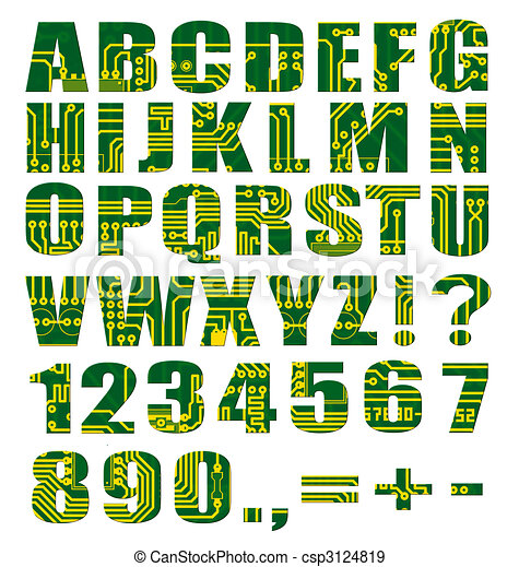 Electronic alphabet with letters and digits from circuit board on ...