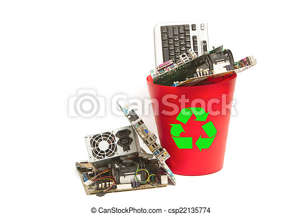 Electronic and computer parts trash in recycle bin  - csp22135774