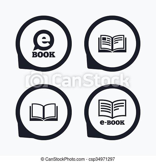 Electronic book signs. e-book symbols. Electronic book icons. e-book ...