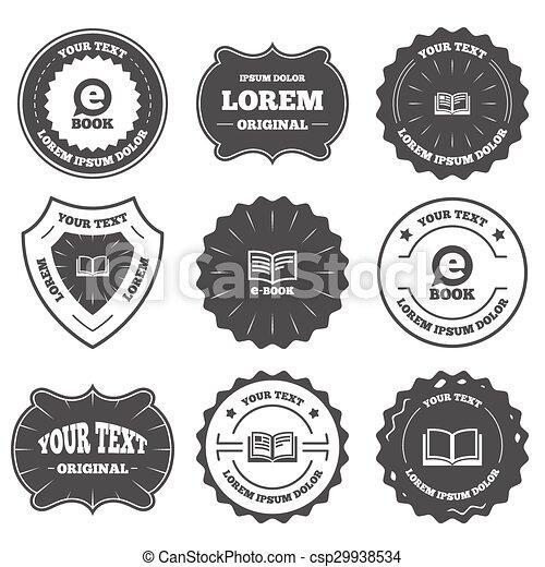 Electronic book signs. e-book symbols. Vintage emblems, labels ...