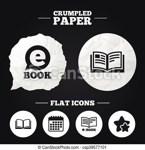 Electronic book signs. e-book symbols. Crumpled paper speech ...