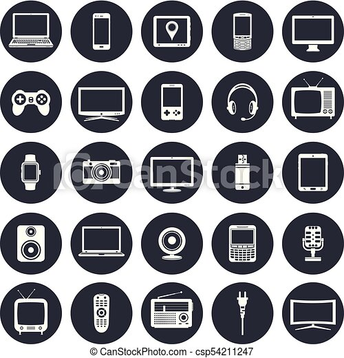 Electronic Devices Technology Gadgets Icons Set Modern And Retro