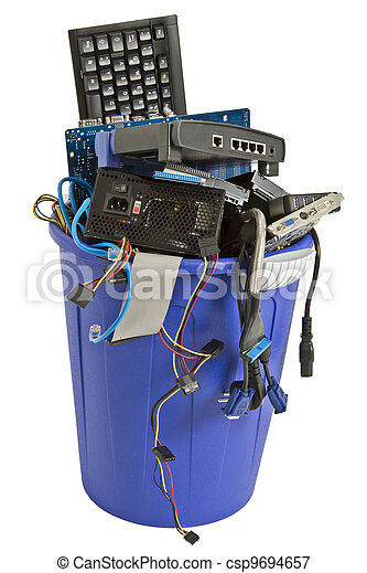 electronic scrap in blue trash can - csp9694657