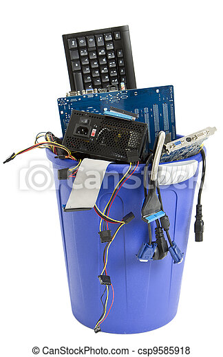 electronic scrap in blue trash can - csp9585918