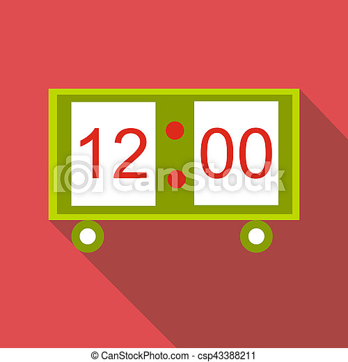 Electronic table clock icon, flat style - csp43388211