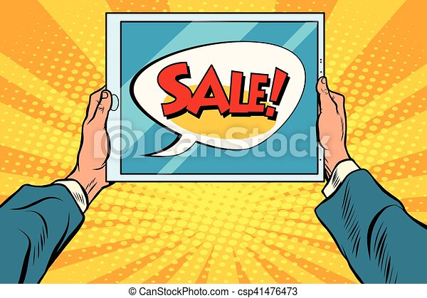 Electronic tablet in hand, sale - csp41476473