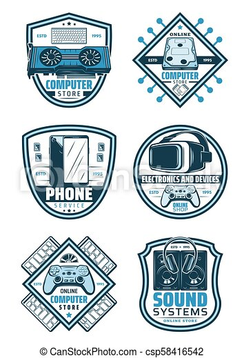 Electronics and devices retro badge shield design