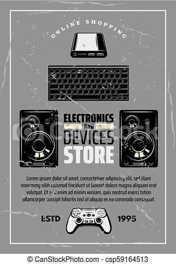 Electronics and devices store retro vector poster