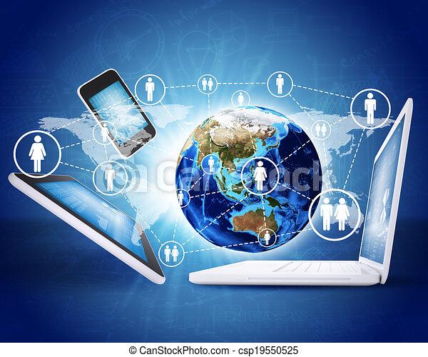 electronics., begriff, erde, kommunikation - csp19550525