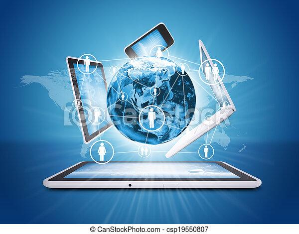 electronics., begriff, erde, kommunikation - csp19550807