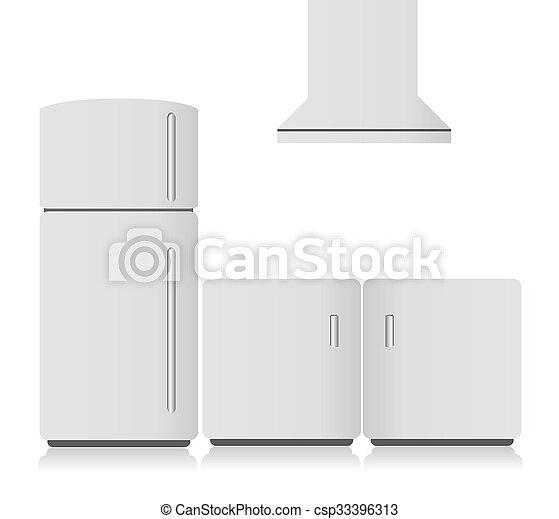 La electrónica de la cocina blanca. Ilustración - csp33396313