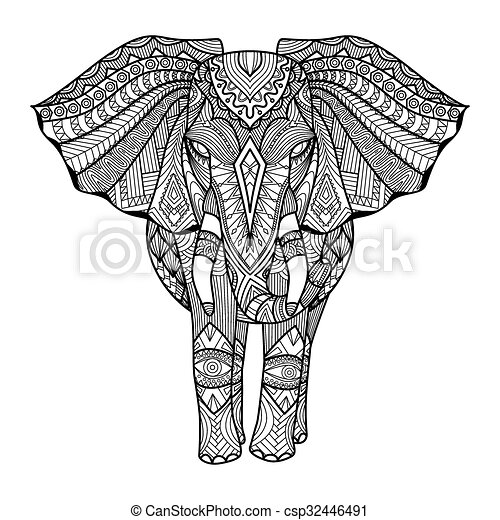 Elefant, zentangle. Färbung, kunst, mã¤nnerhemd,... EPS Vektoren ...