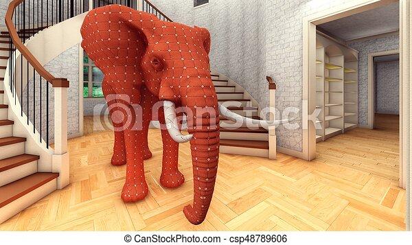 Elefante en la sala 3D de interpretación - csp48789606