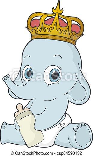 elefante, rey, bebé, empate - csp84590132