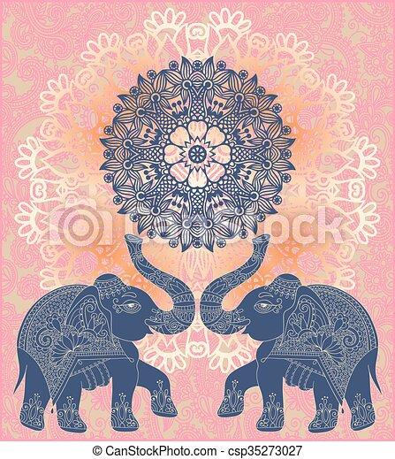 vektor illustration von elefanten muster zwei indische einladung original csp35273027. Black Bedroom Furniture Sets. Home Design Ideas