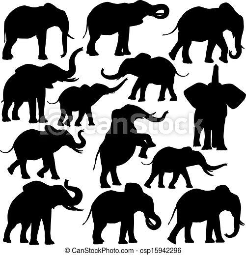 Elefantes africanos. Conjunto, elefantes, editable, siluetas, vector ...