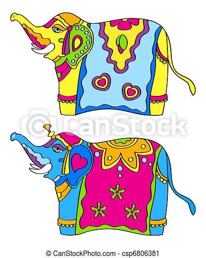Elefantes Indios Adornado Indio Aislado Colorido Elefantes