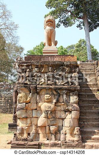 Elefantes Thom León Terraza Estatua Angkor