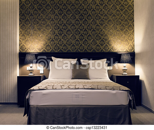 elegancja, sypialnia - csp13223431