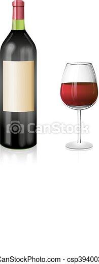 Elegancki Kieliszek Do Wina Czerwona Butelka Wino Illustration