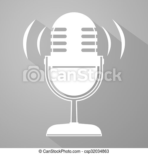 Elegancki, mikrofon, symbol. Elegancki, mikrofon,... – wektorowy ...